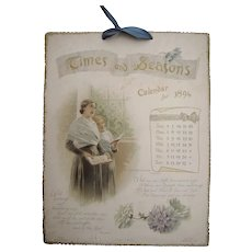 "Twelve page 1894 Color Calendar ""Times and Seasons"""