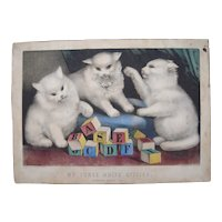 Hand Colored Currier and Ives Print My 3 White Kittens