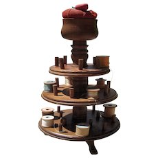 c Early 1900s Wood Round Spool Holder