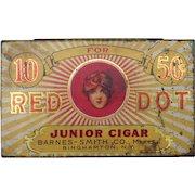 c1905 Advertising Tin Red Dot Cigars