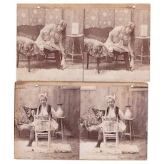 Pair Victorian Risque Stereoviews