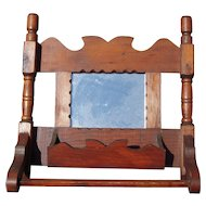 c1950s Handmade Wood Comb Holder/Mirror
