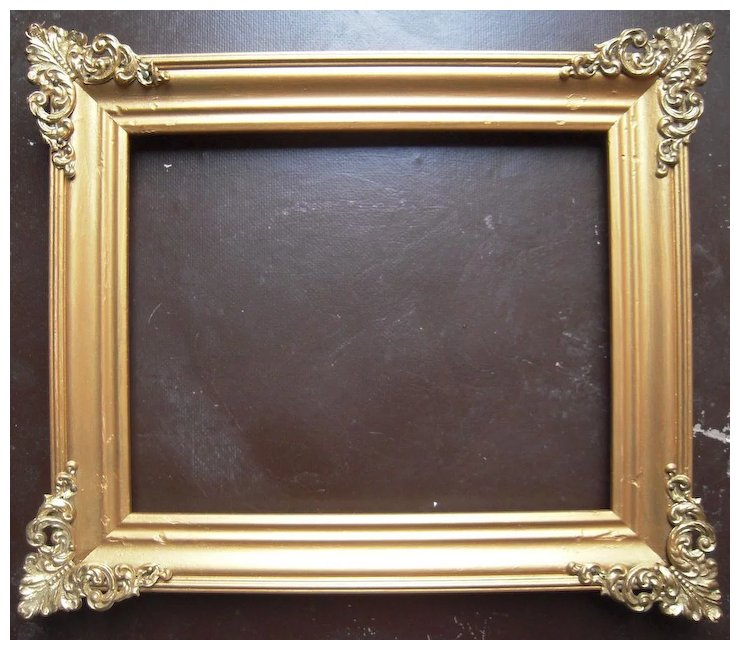 Gold Victorian Picture Frame w/Brass Corners 8\