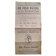 c1910s Newspaper Advertising Broadside for Oilfield Waters Olean, NY