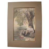 1903 Hand Colored Print w/Cupid Catching Young Couple