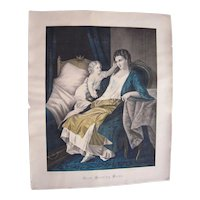 """c1850s/1860s Large Hand Colored Lithograph """"Good Morning Mama"""""""