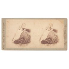 c1860s/1870s Stereoview Tom Thumb's Wife & Child