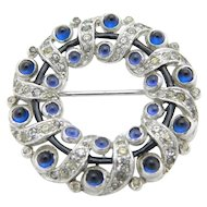 1935 KTF Signed Alfred Philippe Trifari Rhodium Plated Blue Cabochon Wreath Brooch