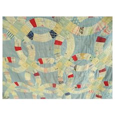 Late 1800's Early 1900's Blue Wedding Ring Pattern Patchwork Quilt