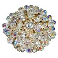 JULIANA D&E Gold Tone Clear Rhinestone Dangle Crystal Flower Pin Brooch