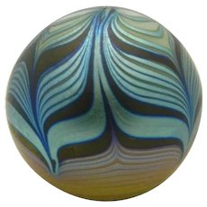 """STEVEN CORREIA PAPERWEIGHT Iridescent Blue Gold Black Pulled Feather 3"""" 1977"""