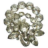 Eisenberg Ice Brooch Pin Crystal Clear Rhinestones Floral Floral