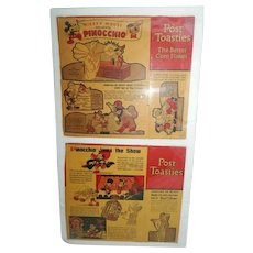 1939 POST TOASTIES Walt Disney Pinocchio Mickey Mouse Used Cut Outs Cereal Box