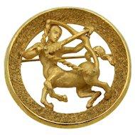Crown Trifari Sagittarius Zodiac Sign Brooch Pin Centaur Astrology Horoscope GT