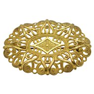 Miriam Haskell Gold Tone Ornate Open Work Pin Brooch Vintage
