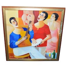 "Jaimendes Titled ""Samba"" Original Oil on Canvas Framed Painting Contemporary Art"