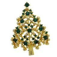 Gold Tone EISENBERG Green Rhinestone CHRISTMAS TREE Brooch Pin Vintage