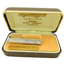 Hickok .925 Sterling Silver Vermeil Rhinestone Bar Men's Tie Clip