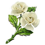 CROWN TRIFARI Gold Tone White Enamel Flower Pin Brooch