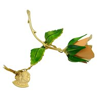 Giovanni Pink Green Enamel Rose Flower Gold Tone Vintage Pin Brooch NWT