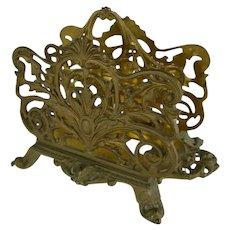 Antique Bradley & Hubbard Gilt Ornate Letter / Napkin Holder Brass Footed Ornate Holder