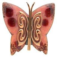 MATISSE RENOIR Signed Pink Red Enamel Copper Butterfly Brooch Pin