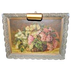 Antique Lilac Bouquet Basket Flower Oil Painting Signed HVG 1891 Framed & Light