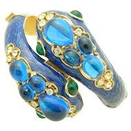 CROWN TRIFARI L'Orient Blue Enamel Two Headed Snake Rhinestone Bracelet 1960's