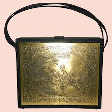 NETTIE ROSENSTEIN Bergdorf Goodman Italian Gold Tone Victorian Scene Plaque Purse 1950s