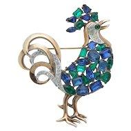 Crown Trifari Jeweled Symphony Rhinestone Rooster Brooch Pat 159925 1940s