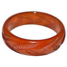 BAKELITE Tested Orange Apple Juice Translucent Carved Leaf Bangle Bracelet