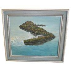 Bela De Tirefort 1968 Hudson River Island New York Oil on Canvas