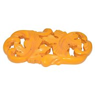 Bakelite Tested Carved Large Butterscotch Yellow Leaf Brooch Pin