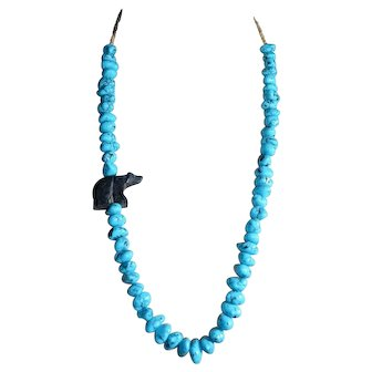 Silver Tone Blue Turquoise Polished Bead Shell Carved Bear Necklace 103g
