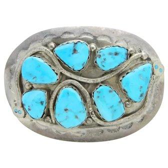 Effie C Calavaza Zuni Sterling Silver Turquoise Snake Western Buckle
