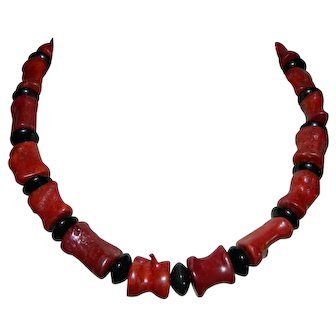 .925 Sterling Silver Red Coral Chunky Barrel Bead Choker Necklace