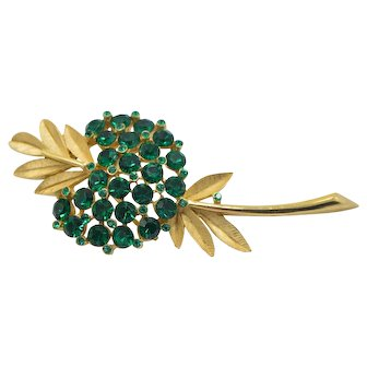 Crown Trifari Green Rhinestone Flower Gold Tone Pin Brooch