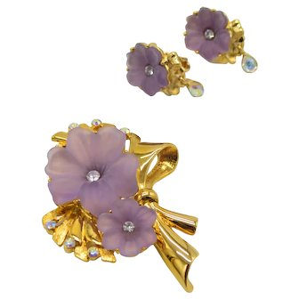 1997 Trifari TM Limited Edition Purple Rhinestone Hibiscus Flower Brooch Earring Set