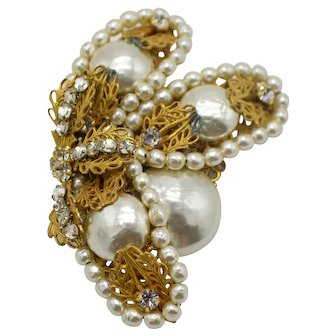 Miriam Haskell Faux Pearl Clear Rhinestone Gold Tone Large Flower Pin Brooch