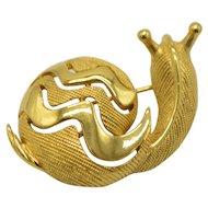 Crown Trifari Textured Gold Tone Openwork Snail Pin Brooch Vintage
