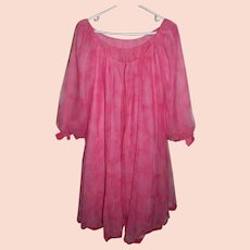 Pink Claire Sandra by Lucie Ann Pink Peignoir Robe Nightgown Velvet Bows 32
