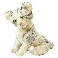 1950s German Steiff Jointed Tabby Kitty Cat 13""