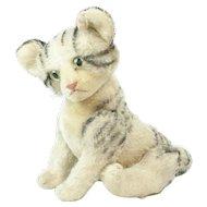 "1950s German Steiff Jointed Tabby Kitty Cat 13"""