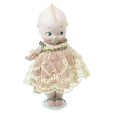 1920s German Bisque Rose O'Neill Large Straight Leg Kewpie in a Dress 9""