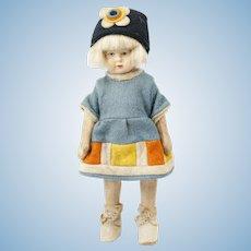 "1920s German Felt Bing Doll with White Blonde Hair 7"""