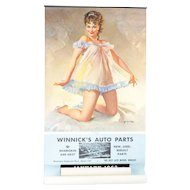 """1962 Gil Elvgren Pin-up Girl Calendar Winnick's Auto Parts 35"""""""