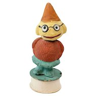 1910s German Papier Maché Veggie Man Bobble Head Candy Container 6""