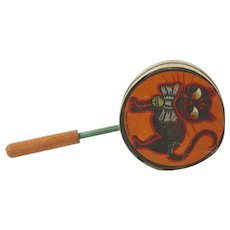 """1920s German Lithographed Paper Noise Maker with Black Halloween Cat and Wooden Whistle Handle 8 1/2"""""""