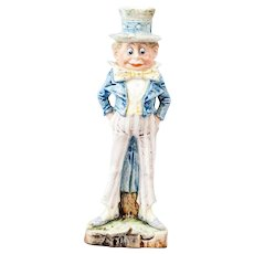 1910s German China Bisque Brownie Uncle Sam Candlestick Holder 9""