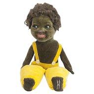 """1940s Norah Wellings Velveteen Soft Cloth Black Girl Doll 11"""""""